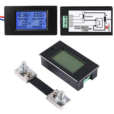DC 12V - 48V 100A LCD Combo Meter Ammeter Power Energy Meter With 100A Shunt TP