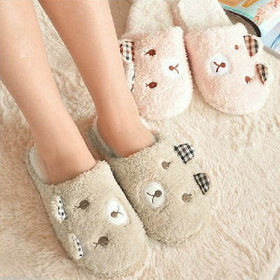 Women Animal Soft Bear Warm Antiskid Cute Indoor Home Slippers Winter Plush Men