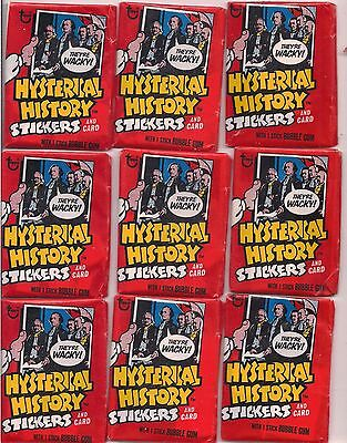 1976 Topps Hysterical History Unopened 9 Pack Lot