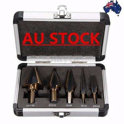 AU  5PCS HSS COBALT MULTIPLE HOLE 50 Sizes STEP DRILL BIT SET w/ Aluminum Case