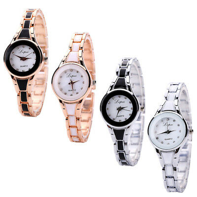 Fashion Womens Gold Stainless Steel Luxury Bracelet Analog Quartz Wrist Watch
