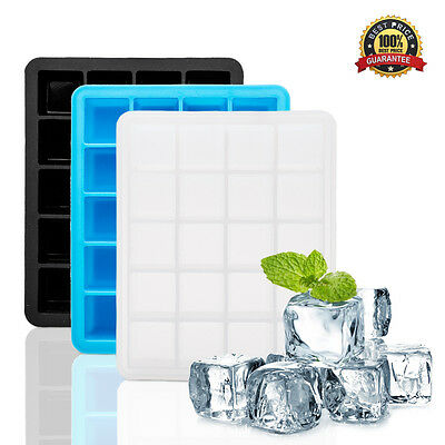 20-Cavity Large Ice Cube Tray Pudding Jelly Maker Mold Square Mould Silicone UK
