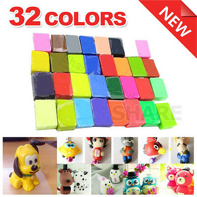 32 Colors Polymer Clay Fimo Block Modelling Moulding Models Art Sculpey DIY Toys