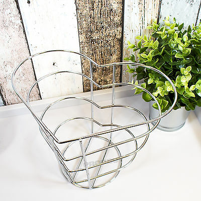 Chrome Wire Heart Shape Fruit Bowl Shabby Chic Vintage Bread Egg Storage Basket