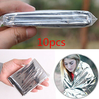 10 x Foil Emergency Blanket Thermal Camping First Aid Survival Rescue Waterproof