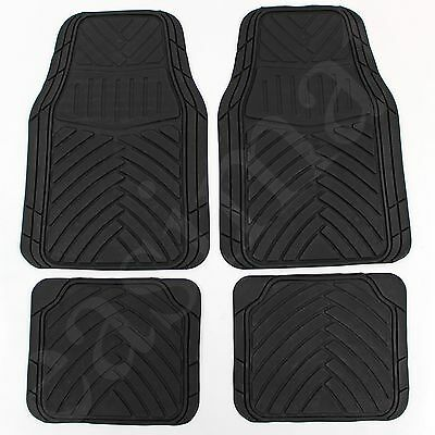 4 Pcs Rubber Car Van Mats Black Universal Fit Heavy Duty Non Slip Easimat