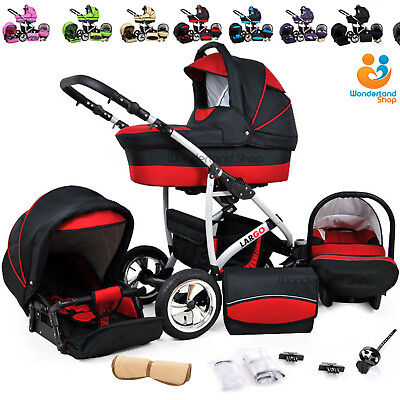 Baby Pram Newborn 3in1 Car Seat Pushchair Travel System Infant Carrycot Buggy