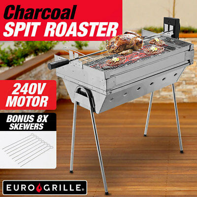 NEW Euro-Grille Electric Spit Roaster Rotisserie Range Charcoal BBQ Grill