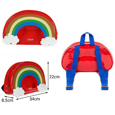 Red Cute Harajuku Transparent Jelly bag Colorful Rainbow Cloud Backpack For Girl