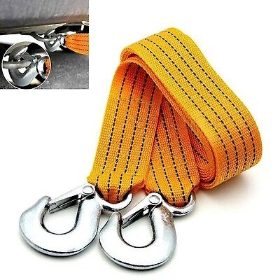 3M 3 Tons Tow Cable Emergency Trailer Rope With 2 Anti-Slip Hooks For Heavy GYTH