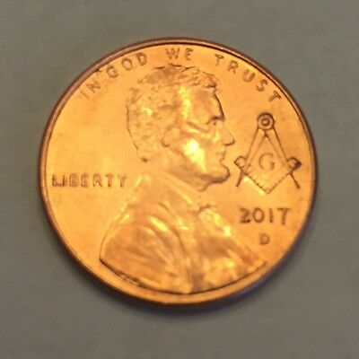 Masonic Freemason Compass And Square stamped on a 2017 Lincoln Penny