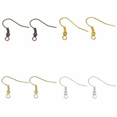❤ 100 (50 prs) Plated Earwires Choose Colour 20mm EARRING Wires HOOKS ❤