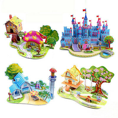 3D DIY-Puzzle Jigsaw Baby Toys Kid Baby learning Castle Construction-Gift JX