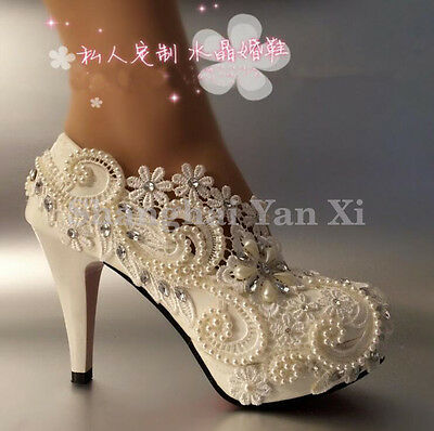 Women heel white ivory lace crystal pearls Wedding shoes pumps bride UK Size 1-7