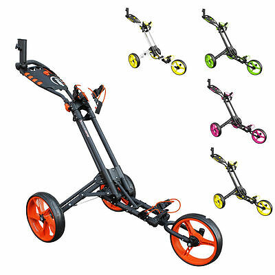 *NEW 2017* MASTERS iCART ONE 3 WHEEL ONE CLICK PUSH TROLLEY (CHOICE OF COLOURS)