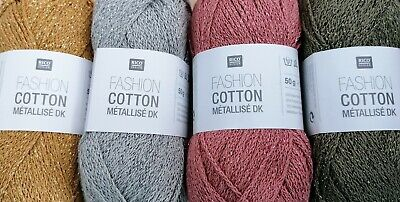 RICO FASHION COTTON METALLISE SPARKLY  DK  DOUBLE KNITTING YARN - New shades