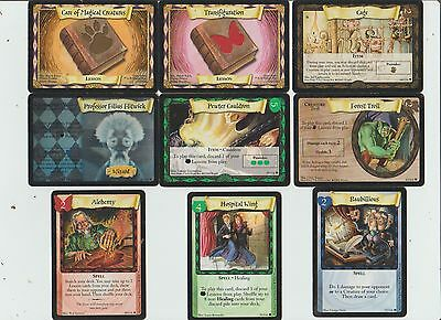2001 Warner Bros. Wizard Harry Potter Trading Card Game Lot Of 9 Cards Used