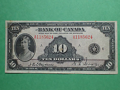 1935 , 10 Dollars,   Osborne-Towers,   A1185624  , BC-7,  Bank of Canada,