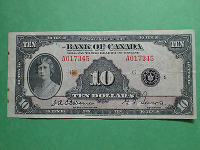 1935 , 10 Dollars,   Osborne-Towers,   A017345  , BC-7,  Bank of Canada,