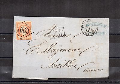 FRANCE Lettre EMPIRE NAPOLEON III N° 23 40 cts Orange obl. Losange 1053 aurillac