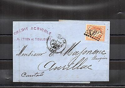 FRANCE Lettre EMPIRE NAPOLEON III N° 23 40 cts Orange obl. Losange 2982 aurillac