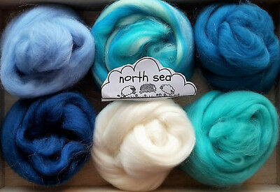 Merino Wool roving/ tops / Felting, needle felting, Sea Blues and Greys 60g