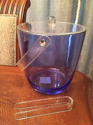 "Acrylic Blue Ice Bucket w/Clear Lid & Handle 7.5"" Diameter & 7.5"" High w/Tongs"