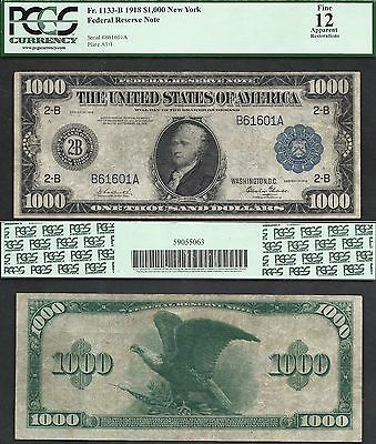 $1000 1918 FRN=NEW YORK=Fr. 1133-B=BLUE SEAL=ONE THOUSAND==1 of 7=PCGS Fine 12