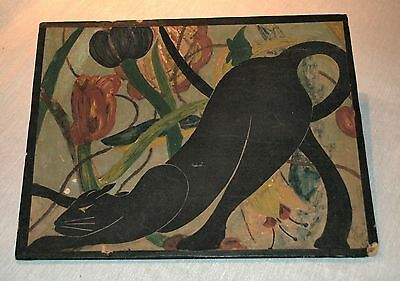 Folk Art Black Cat Stretching In The Flowers, Artist Signed
