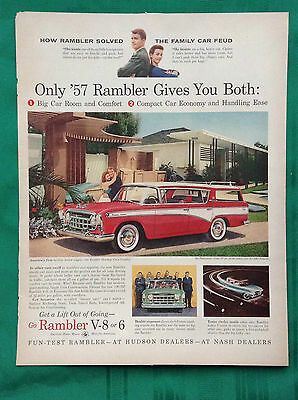 1957-1958 Lot Vintage Automobile Magazine Ads ~ Rambler incl Station Wagons