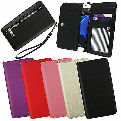PU Leather Clutch Purse Folio Pouch Sleeve Fits MyPhone Smartphones