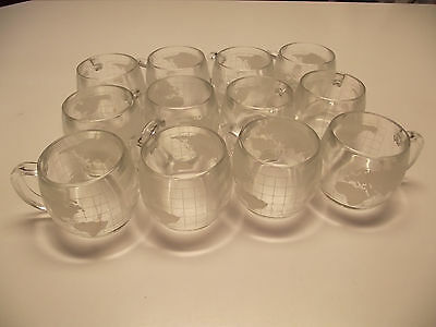 12 World Globe Glass NESTLE Coffee Cups MUGS THICK Etched EXC