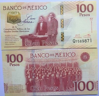 MEXICO Bank Note 2017.$100 Centenary Anniversary of the  Constitution.Crisp Unc.