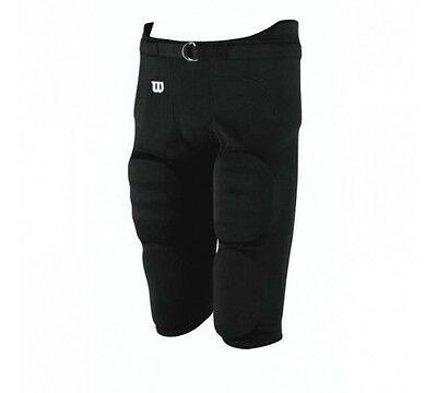 New Wilson Boys Football Game Practice Pants Integrated 7 Piece Pads Black M-XXL