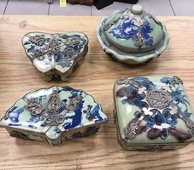 Antique Vintage Oriental Trinket Boxes Jade Cobalt Silver Edged Old China Japan