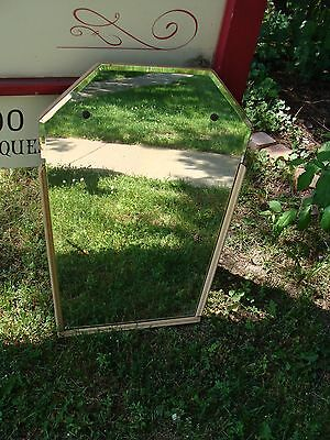 Vintage Mid Century Modern Art Deco Hexagon bevelled glass & wood wall mirror