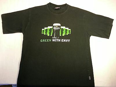 "Guinness Beer Large men's ""Green with envy"" black cotton T-shirt"