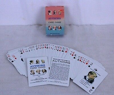 Vintage 1987 Authors Card Game Whitman Dickens May Alcott Scott Twain 52 Deck