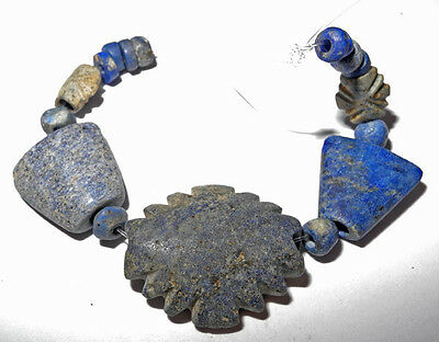 16 LAPIS LAZULI BEADS - WESTERN ASIA - Unusual Necklace set - ca 700 to 1200 AD
