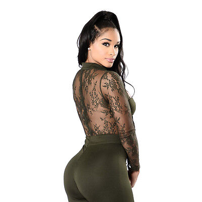 Fashion Womens Hollow Jumpsuit Bodycon Playsuit Lace Mesh Party Long Trousers