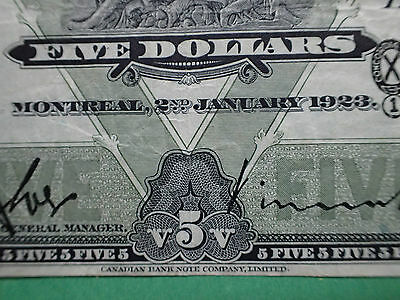 1923 , 5 Dollars,   The Bank of Montreal,  # 3405954,    Large banknote