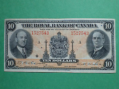 1935 , 10 Dollars,   The Royal Bank of Canada,  # 1527543