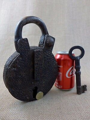 Antique Very Large Padlock with one key, working order, handmade by blacksmith's