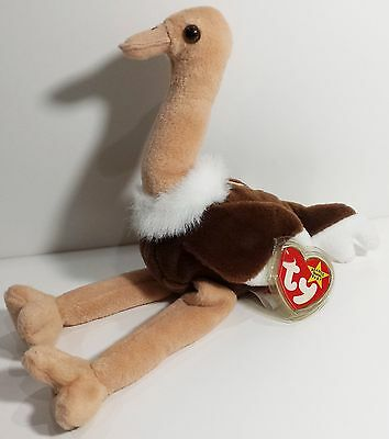 "TY Beanie Babies ""STRETCH"" the Ostrich Bird - MWMTs! RETIRED! MUST HAVE! GIFT!"