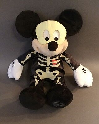 Disney Store Mickey Mouse GLOW IN THE DARK Plush Soft Toy Doll Figure Skeleton