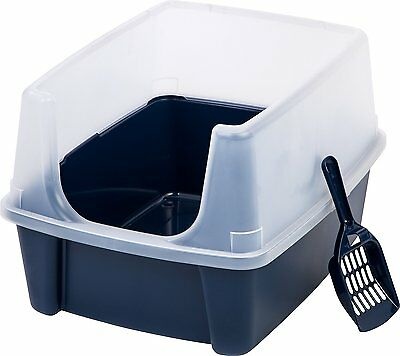 IRIS Open Top Litter Box with Shield and Scoop for Cat Cats Pet Househol