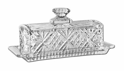Decorative Crystal Glass Butter Stick Dish Vintage Style Crystal Clear Lead NEW