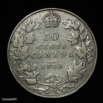 1913 Canada Silver George V 50 Cents - Fine+