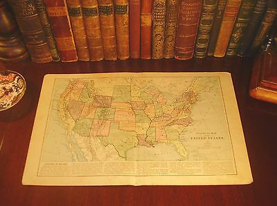 Large Original 1875 Antique UNITED STATES of AMERICA Engraved 141-yr-old Map