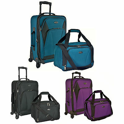 US Traveler Saratoga 2pc Carry-on Expandable Spinner Duffel Luggage Suitcase Set
